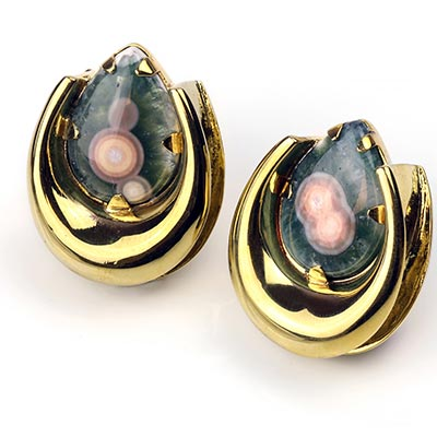 Brass Saddles with Ocean Jasper