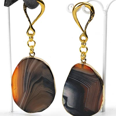 Brass Dangle Weights with Sliced Agate