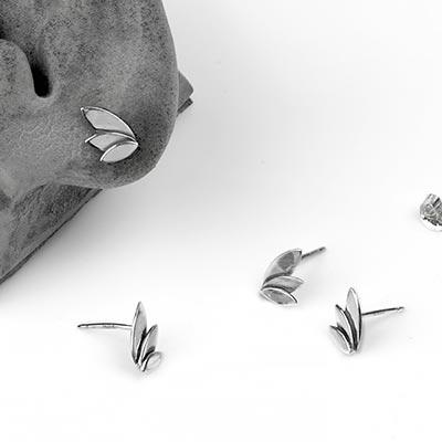 Silver Three Petal Stud Earrings