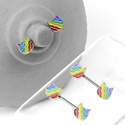 Steel Rainbow Kitten Nipple Barbells