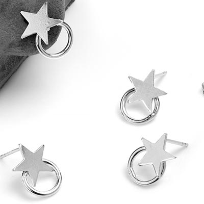 Silver Star with Dangle Ring Stud Earrings