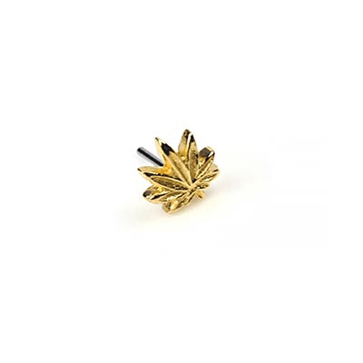 14K Gold Cannibas Leaf Threadless End