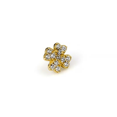 14k Gold Gemmed Clover Threadless End