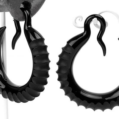 Glass Crescent Hoops - Black Centipede