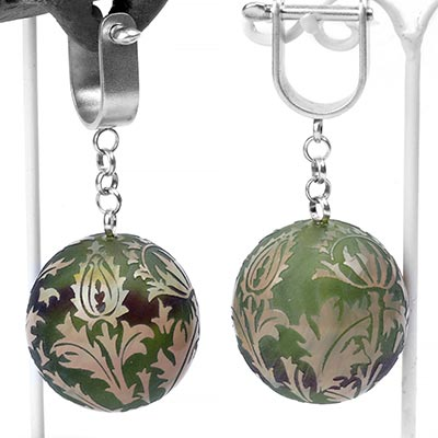 Ball and Chain Glass Torian Ivy Weights - Sea Green