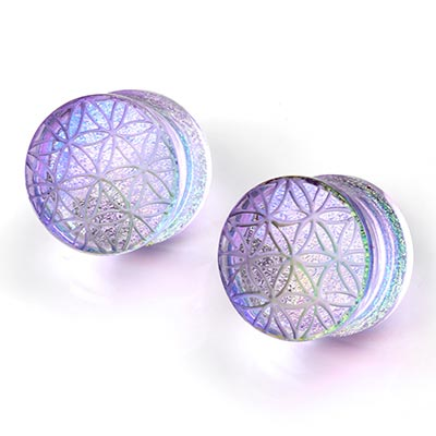 Glass Flower of Life Image Plug - Lavender Gold