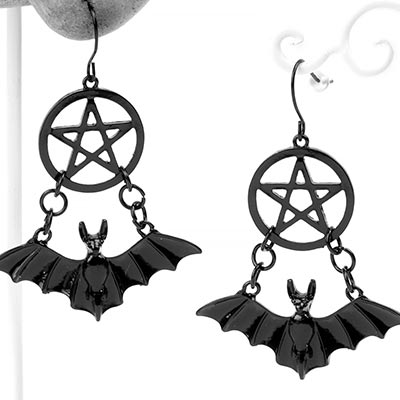 Black Pentagram Bat Earrings
