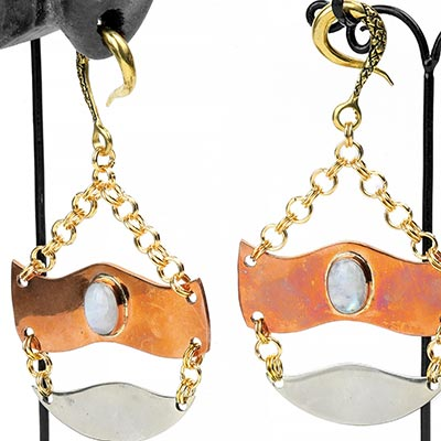 Brass Trilogy Weights with Rainbow Moonstone