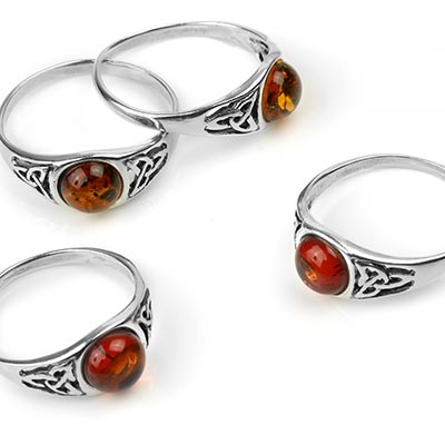 Silver and Amber Celtic Triquetra Ring