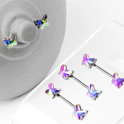 Steel and AB Gem Butterfly Nipple Barbell