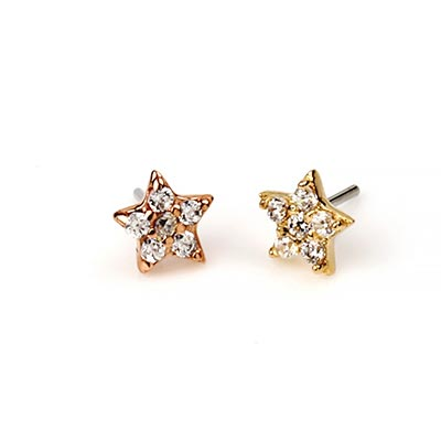 14K Gold Gemmed Star Threadless End