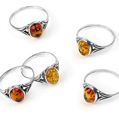 Silver and Amber Circlet Ring