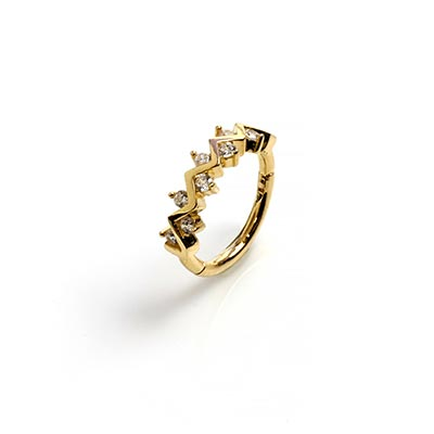 14K Gold Zig-Zag Side Set Gem Clicker