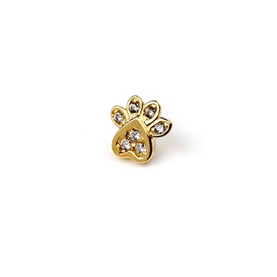 14K Gold Gemmed Paw Print Threadless End