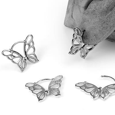 Sterling Silver Butterfly Huggie Earrings