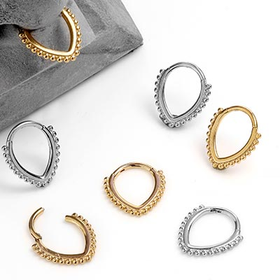 Steel Beaded Teardrop Clicker Ring