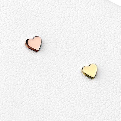 14K Gold Heart Threadless End