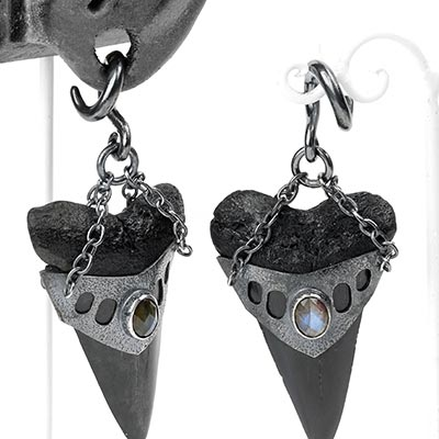 Oxidized Silver and Megalodon Teeth Weights with Labradorite