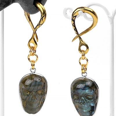 Brass Labradorite Skull Weights
