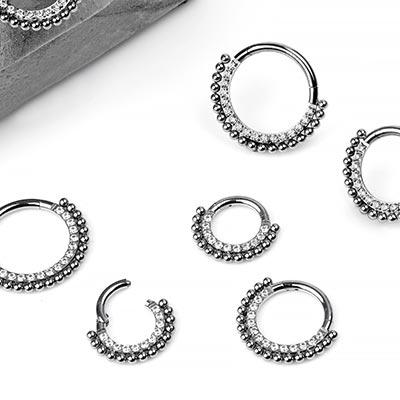 Titanium Beaded Gem Clicker Ring