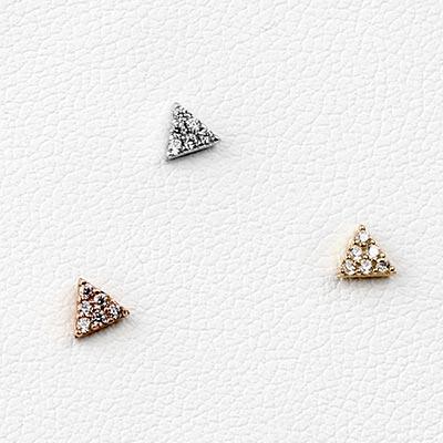 14K Gold Gemmed Triangle Threadless End