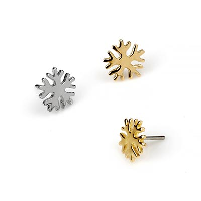 14K Gold Snowflake Threadless Ends