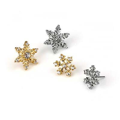 14K Gold Gemmed Snowflake Threadless Ends