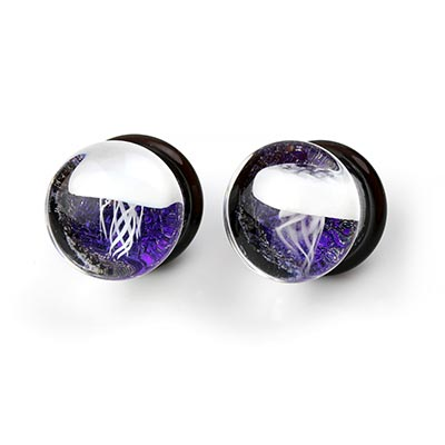 Pyrex Glass Jellyfish Plugs (White On Purple Foil)