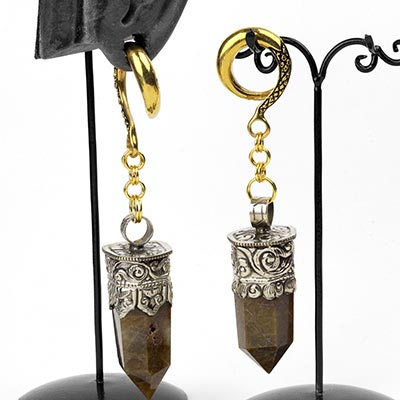 Brass Dangle Weights with Rutilated Quartz
