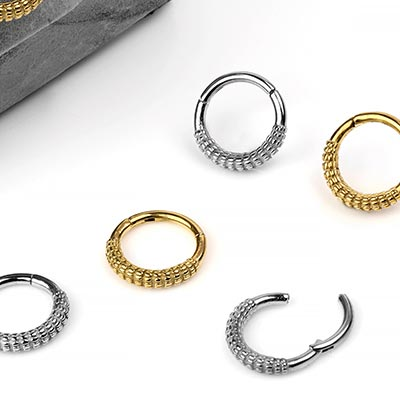 Steel Ridged Clicker Ring