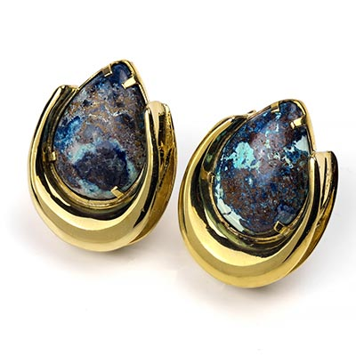 Solid Brass Saddles with Chrysacolla