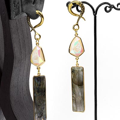 Brass Dangle Weights with Faceted Labradorite and Druzy Agate