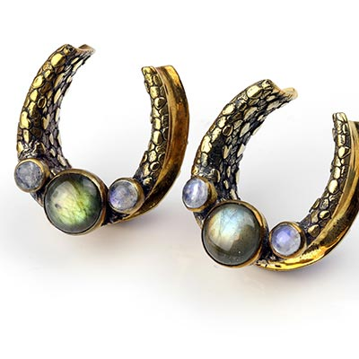 Brass Saddles with Labradorite and Rainbow Moonstone