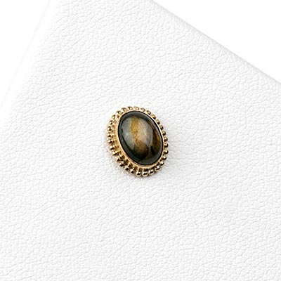 14k Gold Oval Threadless End with Labradorite