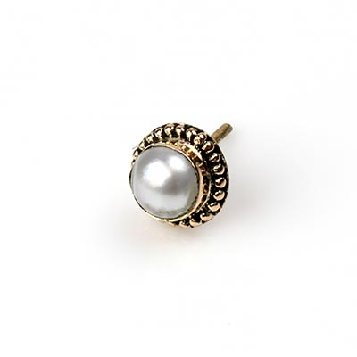 14k Gold Threadless End with Pearl