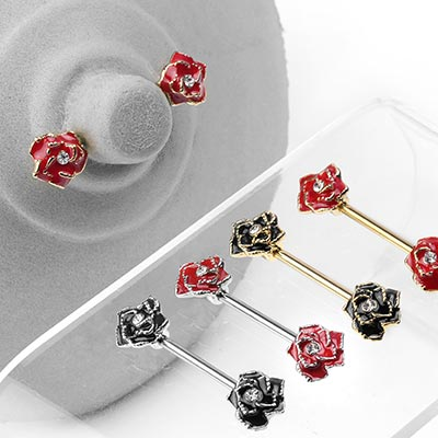 Steel Rose Nipple Barbell