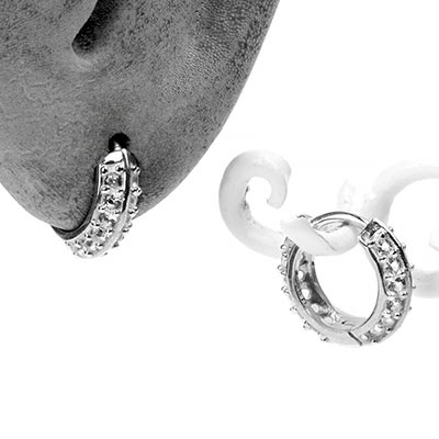 Silver and Gem Huggie Earring