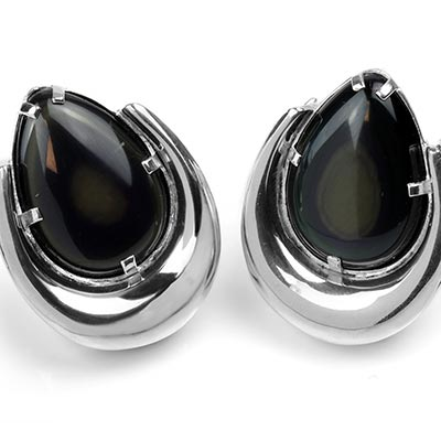Sterling Silver Saddles with Rainbow Obsidian