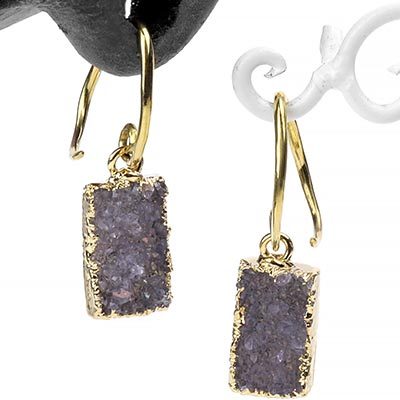 Brass and Electroplated Druzy Dangles