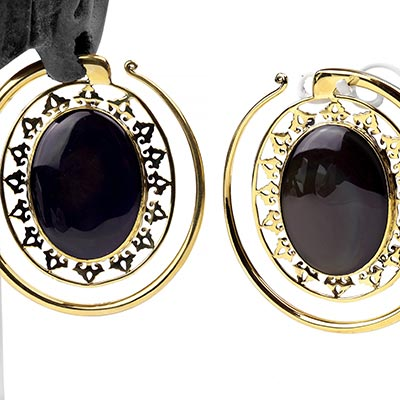 Solid Brass Oval Puj Ju Hoops with Rainbow Obsidian