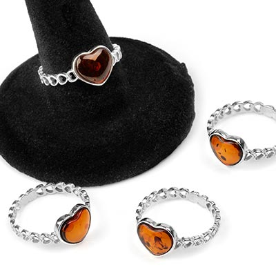 Silver and Amber Heart Ring