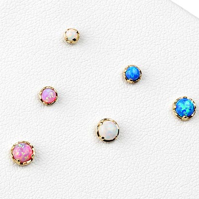 14k Gold and Prong Set Synthetic Opal Threadless End