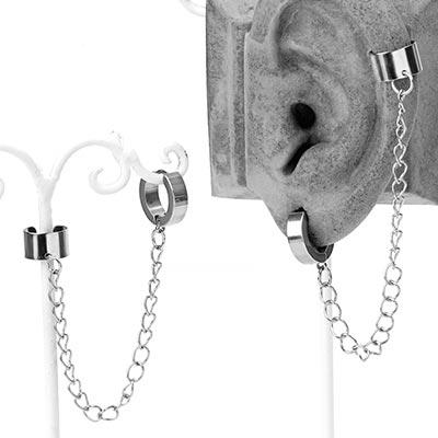 Steel Huggie Earring with Cuff