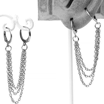 Steel Chained Double Huggie Earring
