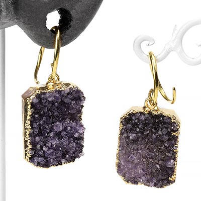 Brass and Gold Dipped Purple Baby Druzy Dangles