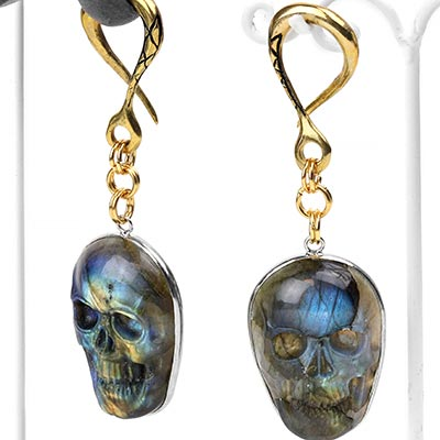 Brass Labradorite Skull Weights