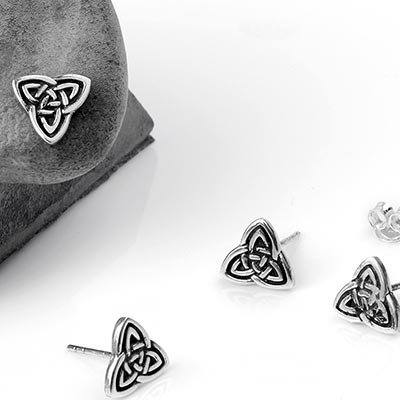 Silver Celtic Triquetra Stud Earrings