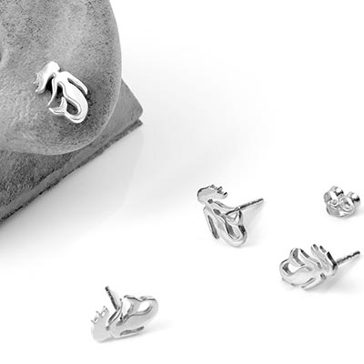 Silver Mermaid Stud Earrings