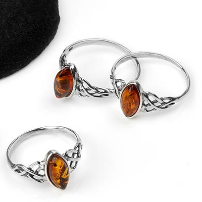Silver and Marquise Amber Celtic Ring