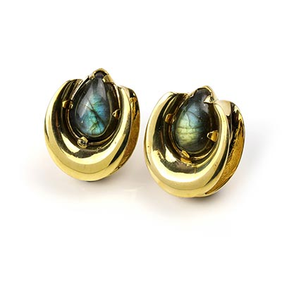 Solid Brass Saddles with Labradorite